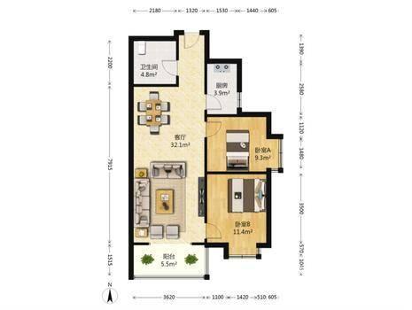 瑞城D区2室2厅1卫91㎡