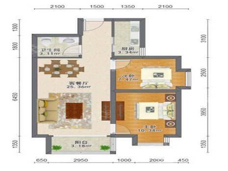 瑞城D区2室2厅1卫89㎡