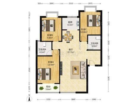 瑞城D区3室2厅2卫125㎡