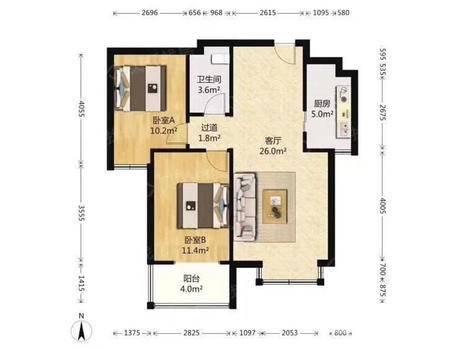 翰林观天下2室2厅1卫90㎡