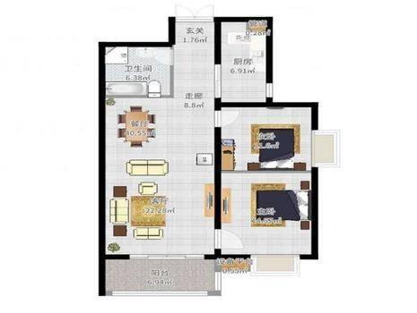 瑞城D区2室2厅1卫84㎡
