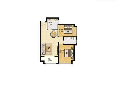同祥城(A、B区)2室2厅1卫89㎡