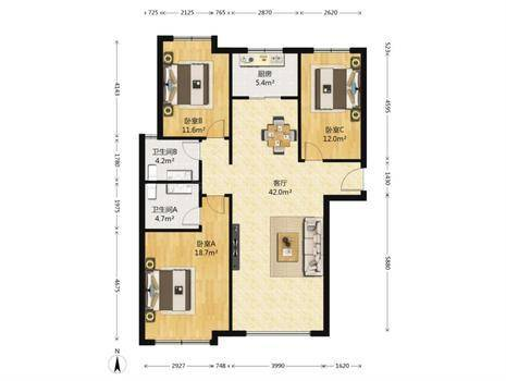红石原著3室2厅2卫133㎡
