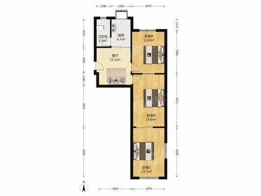 钟强小区(2号院)2室1厅1卫57㎡